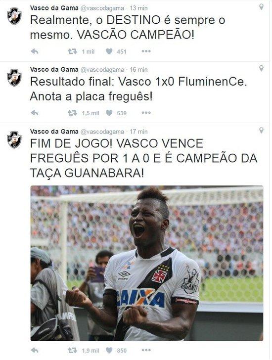 Twitter Oficial do Vasco provoca o  FluminenCe