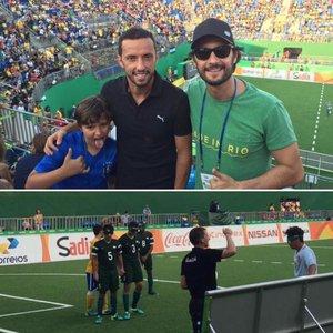 Nenê, seu filho e Rodrigo Santoro