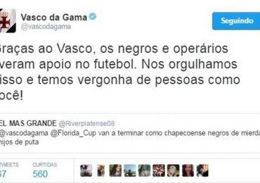Vasco responde torcedor do River Plate após ofensas racistas aos atletas