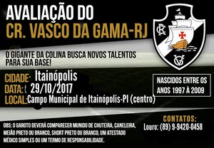 Vasco busca talentos em Itainópolis-PI
