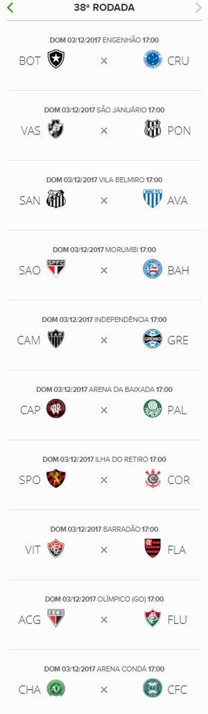 Tabela de jogos do brasileiro
