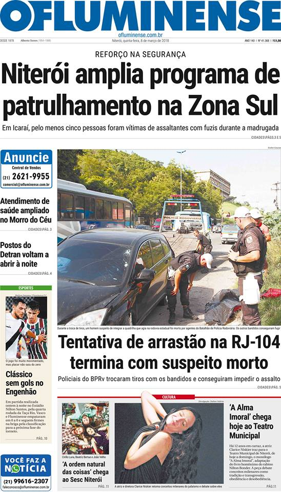 Jornal: Vasco 0 x 0 Fluminense