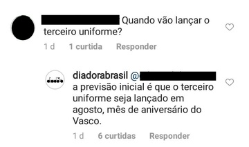 Print da resposta da Diadora