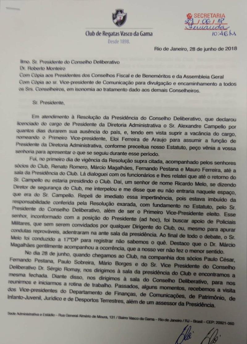 Declaração de Elói Ferreira