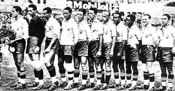 Seleção Brasileira em 1934: Martin, Roberto Pedrosa, Sylvio Hoffmann, Tinoco, Luiz Luz, Canalli, Pat