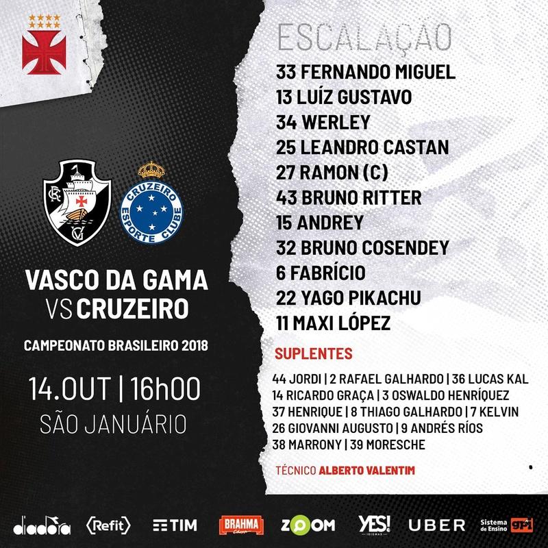 Escalação oficial do Vasco