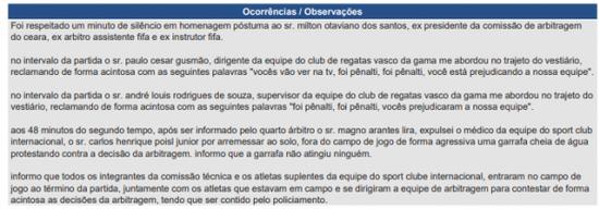 Reclamações Vasco 1 x 1 Inter