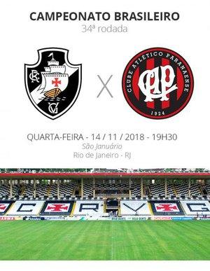 Vasco x Atlético-PR pela rodada 34