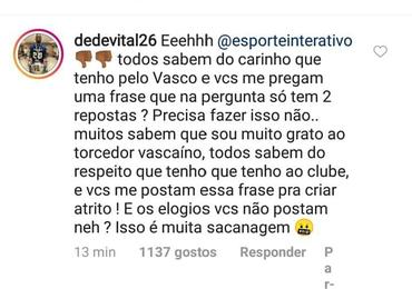 No instagram, Dedé comenta sobre entrevista polêmica que concedeu a um canal