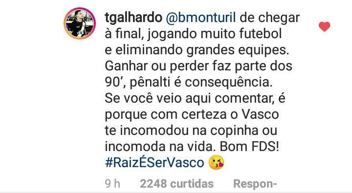 Thiago Galhardo responde torcedor que desmereceu os garotos da base  vascaína - SuperVasco d8b6eabdbe75c
