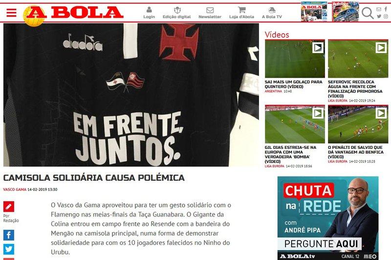 Ato solidário do Vasco ao Flamengo repercute em Portugal - SuperVasco 3ac2fae4da6d5