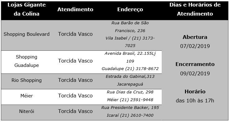 Ingresso Vasco e Resende