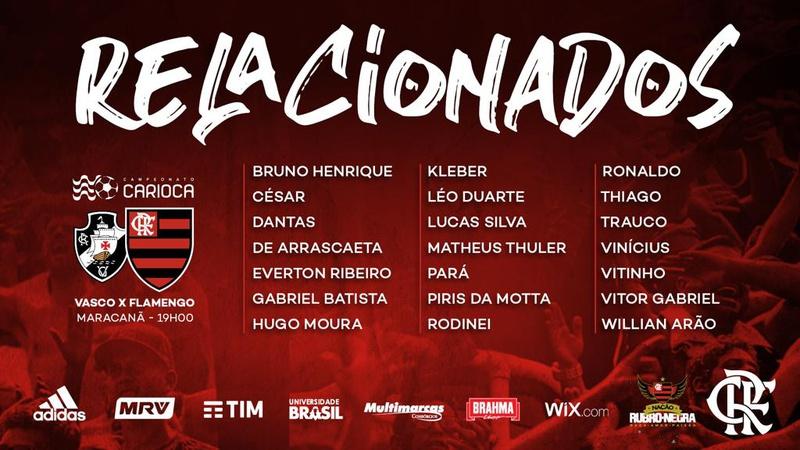 Relacionados do Flamengo para o clássico contra o Vasco