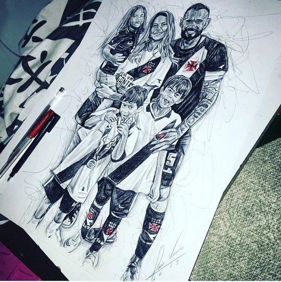 Leandro Castan e sua família em forma de desenho