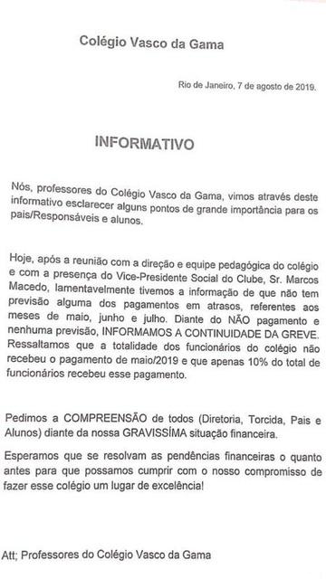 Professores do Colégio Vasco da Gama informaram que mantiveram a greve por conta dos atrasados