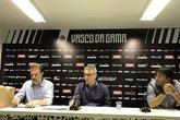 João Marcos Amorim, vice-presidente de finanças; Alexandre Campello e Adriano Mendes, VP (Foto: Leonardo Achão)
