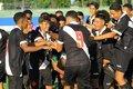 Sub-15: Jogadores comemoram um dos gols na vitória sobre o Flamengo