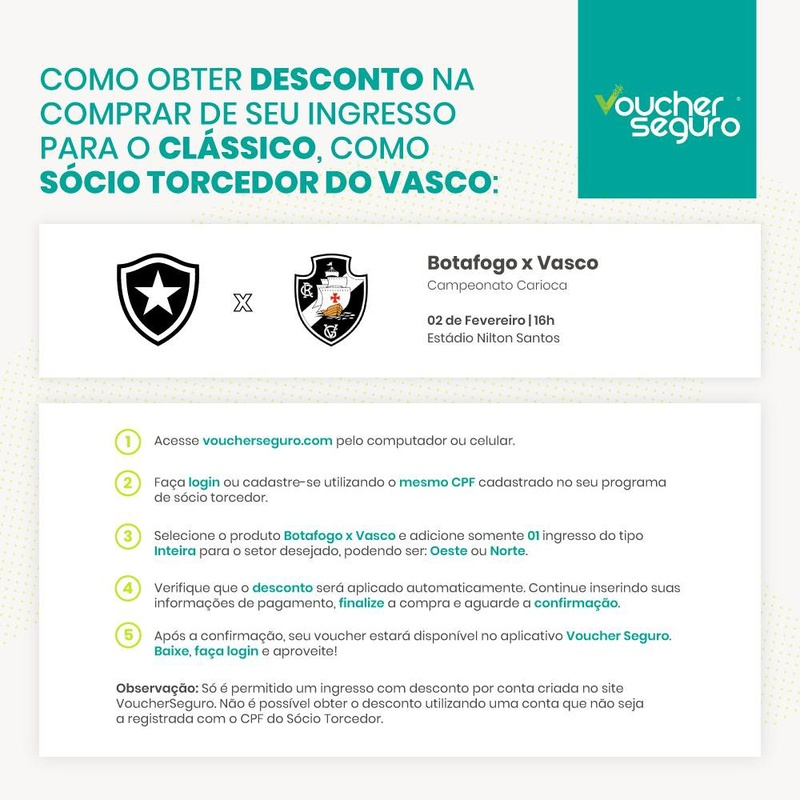 Desconto no ingresso de Vasco x Botafogo