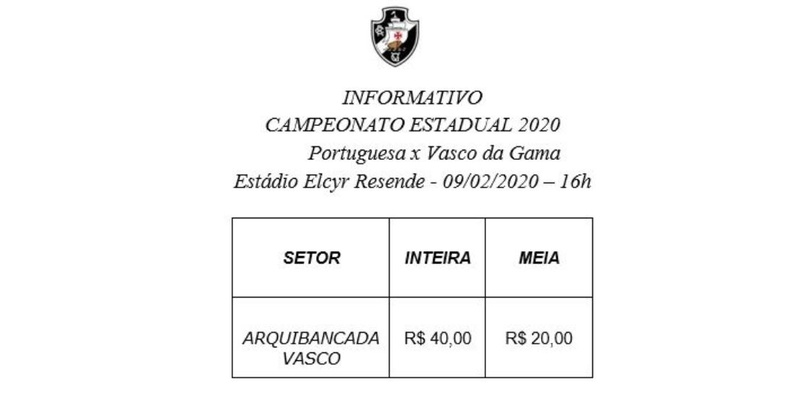 Ingressos - Portguesa - RJ x Vasco