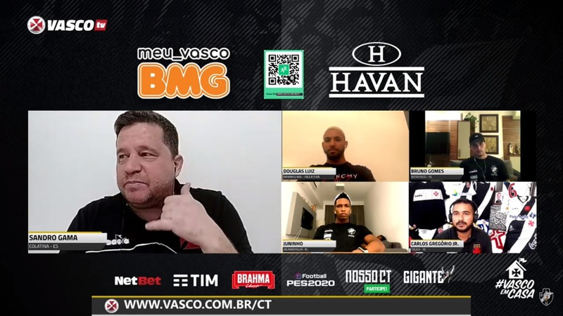 Douglas Luiz, Juninho e Bruno Gomes participaram de live da Vasco TV
