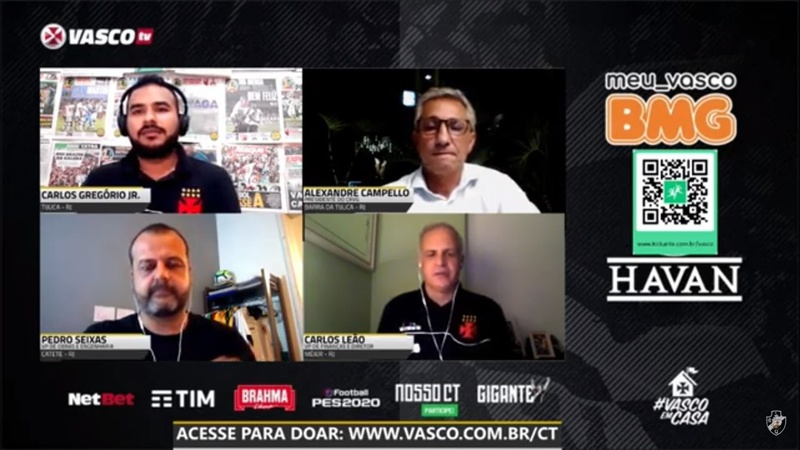 Durante a live da Vasco TV, Campello anunciou projeto para sócios