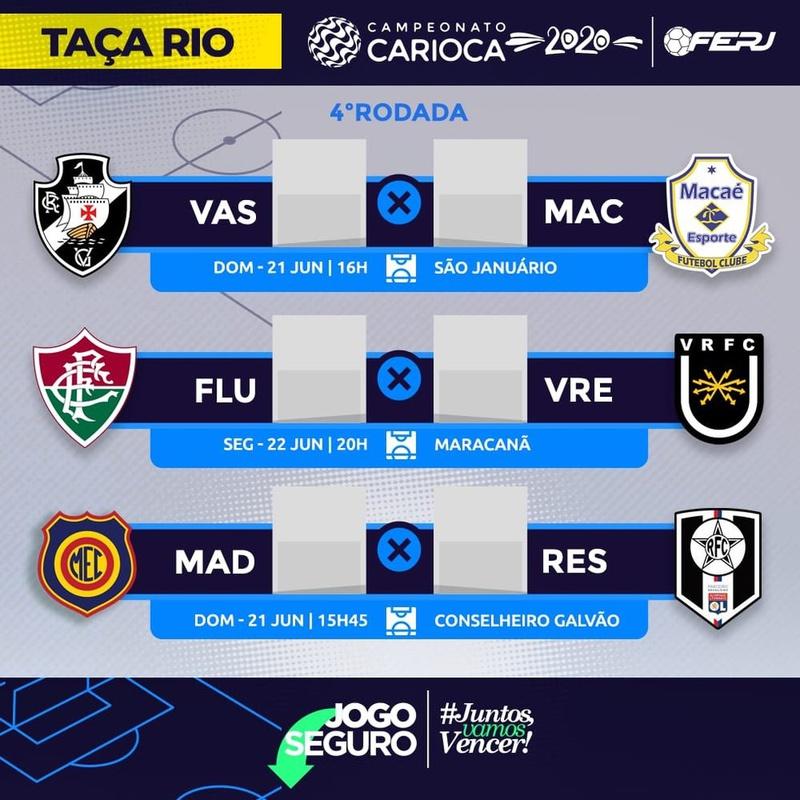 Ferj confirma jogos de Vasco, Macaé, Fluminense, Volta Redonda, Madureira e Resende pela 4ª rodada