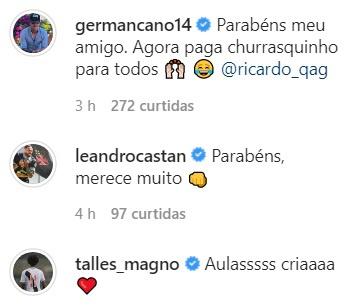Germán Cano comenta em post de Ricardo Graça