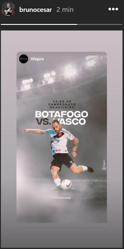 Bruno César publica imagem em referência ao clássico contra o Botafogo