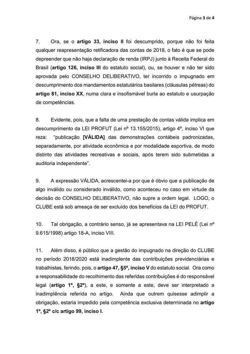 Elói Ferreira de Araújo, primeiro vice-presidente do Vasco, pede a impugnação de Alexandre Campello