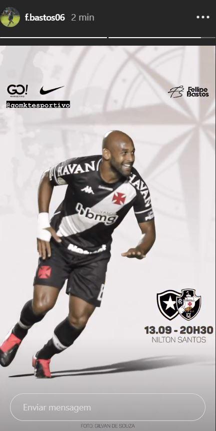 Fellipe Bastos publica imagem em referência ao clássico contra o Botafogo