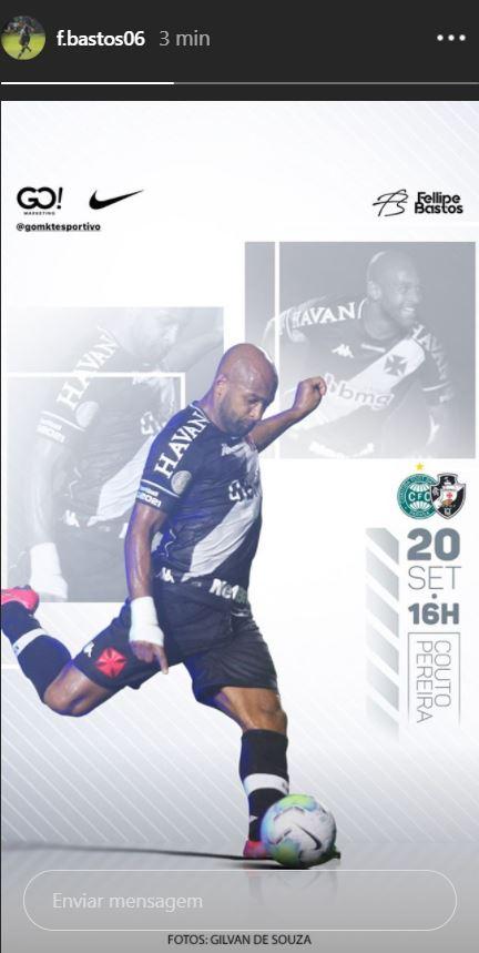 Fellipe Bastos publica imagem em referência ao jogo contra o Coritiba