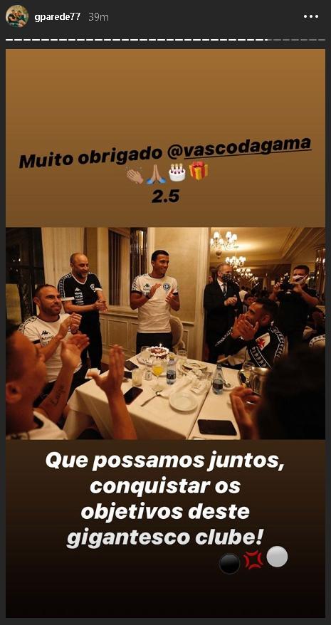 Jogador agradece ao Vasco