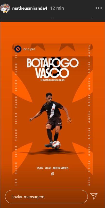 Miranda publica imagem em referência ao clássico contra o Botafogo