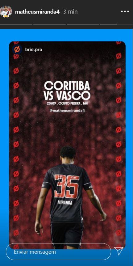 Miranda publica imagem em referência ao jogo contra o Coritiba
