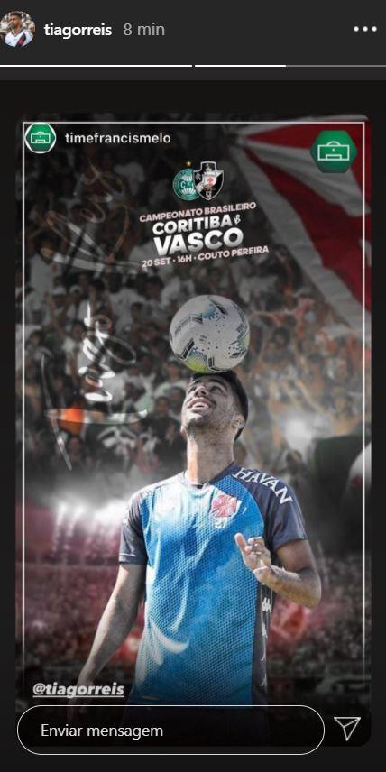 Tiago Reis publica imagem em referência ao jogo contra o Coritiba