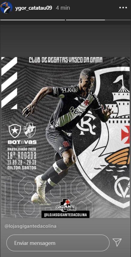 Ygor publica imagem em referência ao clássico contra o Botafogo