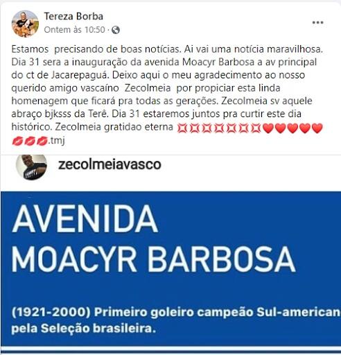Post de Tereza, no Facebook