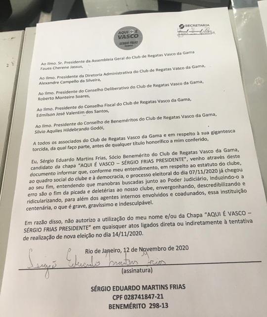 Carta de renúncia de Sérgio Frias