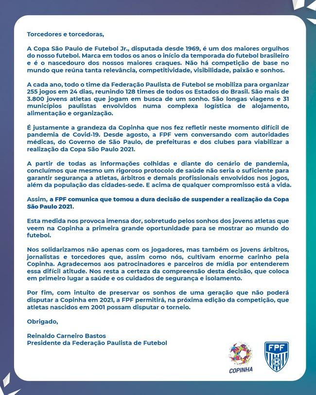 Comunicado da Copa São Paulo de Futebol Jr