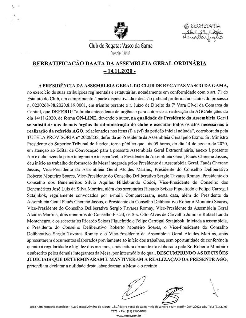 Confira as folhas que compõem a ata do pleito on-line do Vasco, assinada por Faues Mussa, presidente