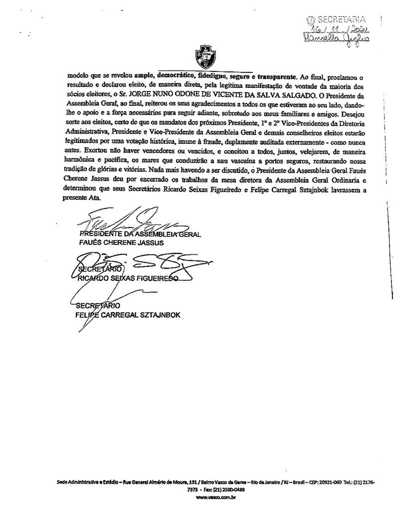 Confira as folhas que compõem a ata do pleito on-line do Vasco, assinada por Mussa, presidente da AG