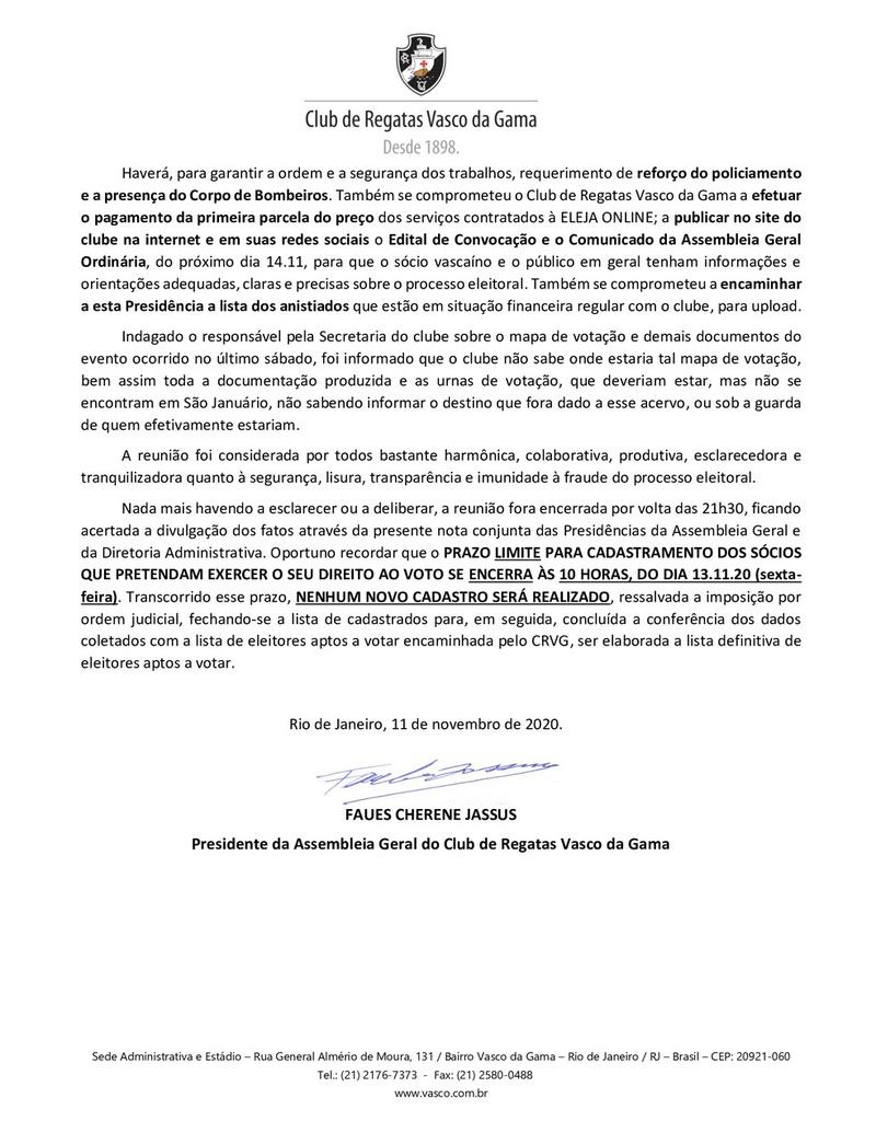 Convocação das eleições para o dia 14/11