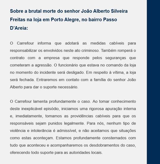 Nota Carrefour sobre a morte de João Alberto Silveira Freitas
