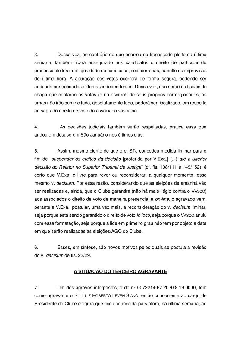 Petição de Mussa sobre Leven Siano