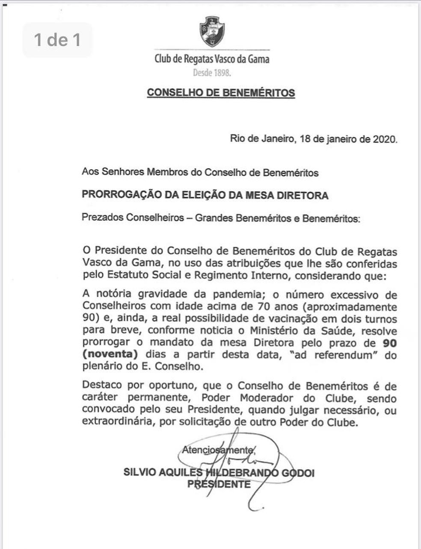 Presidente do Conselho de Beneméritos do Vasco adia eleições para mesa diretora —