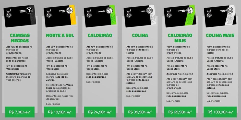 Confira seis dos nove planos de sócios-torcedor oferecidos pelo Vasco