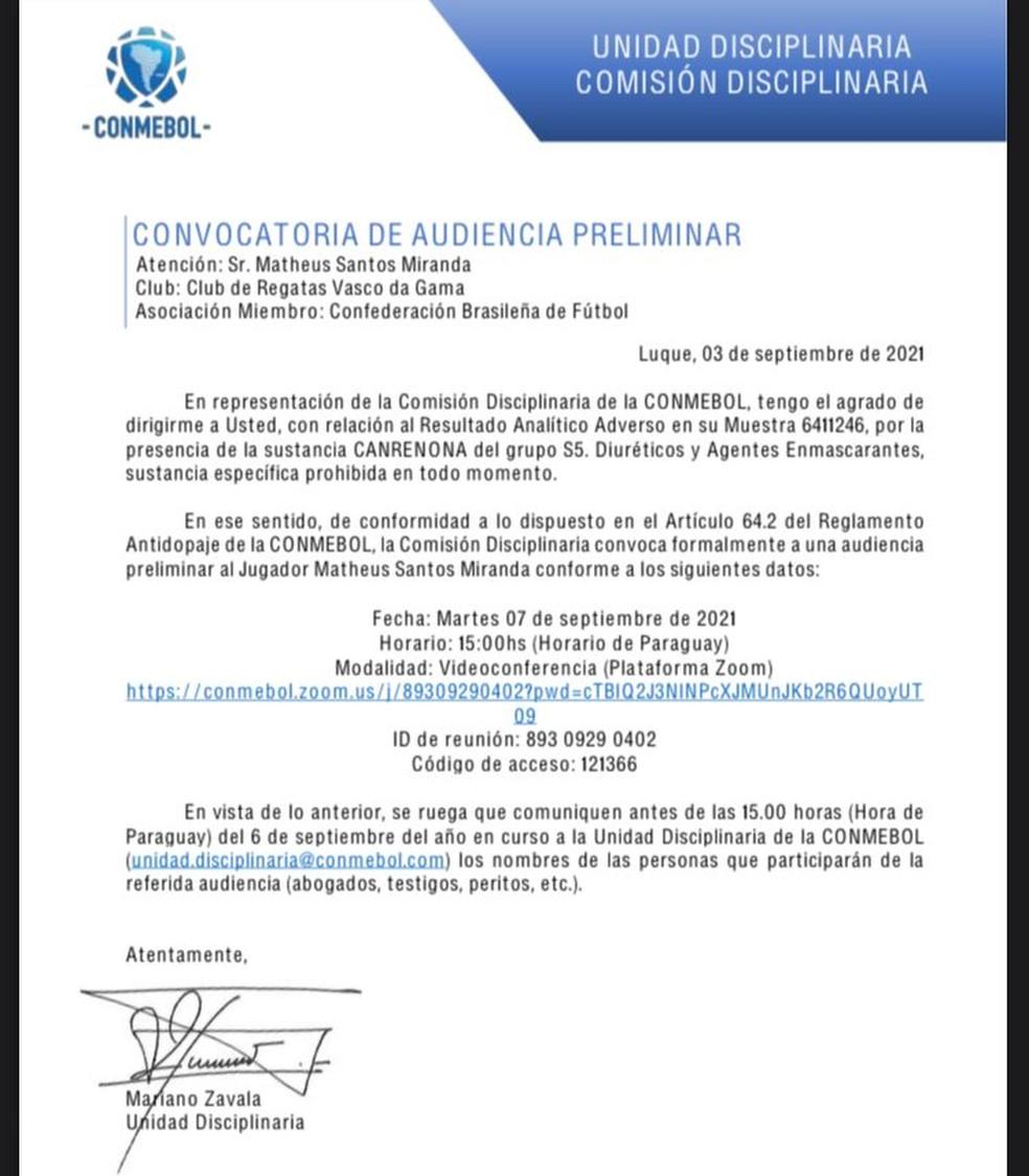 O comunicado da Conmebol sobre o doping de Miranda